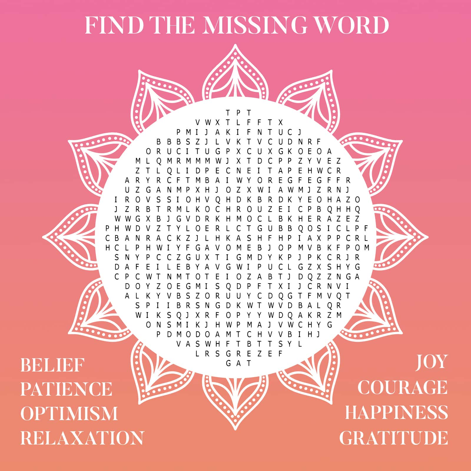 Sample Mindfulness Wordsearch